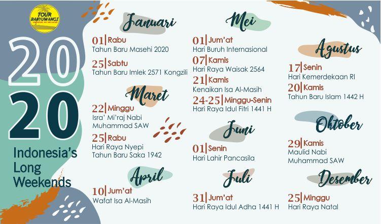 Kalender Liburan 2020, Jadwal Libur Nasional 2020, Tour Banyuwangi.